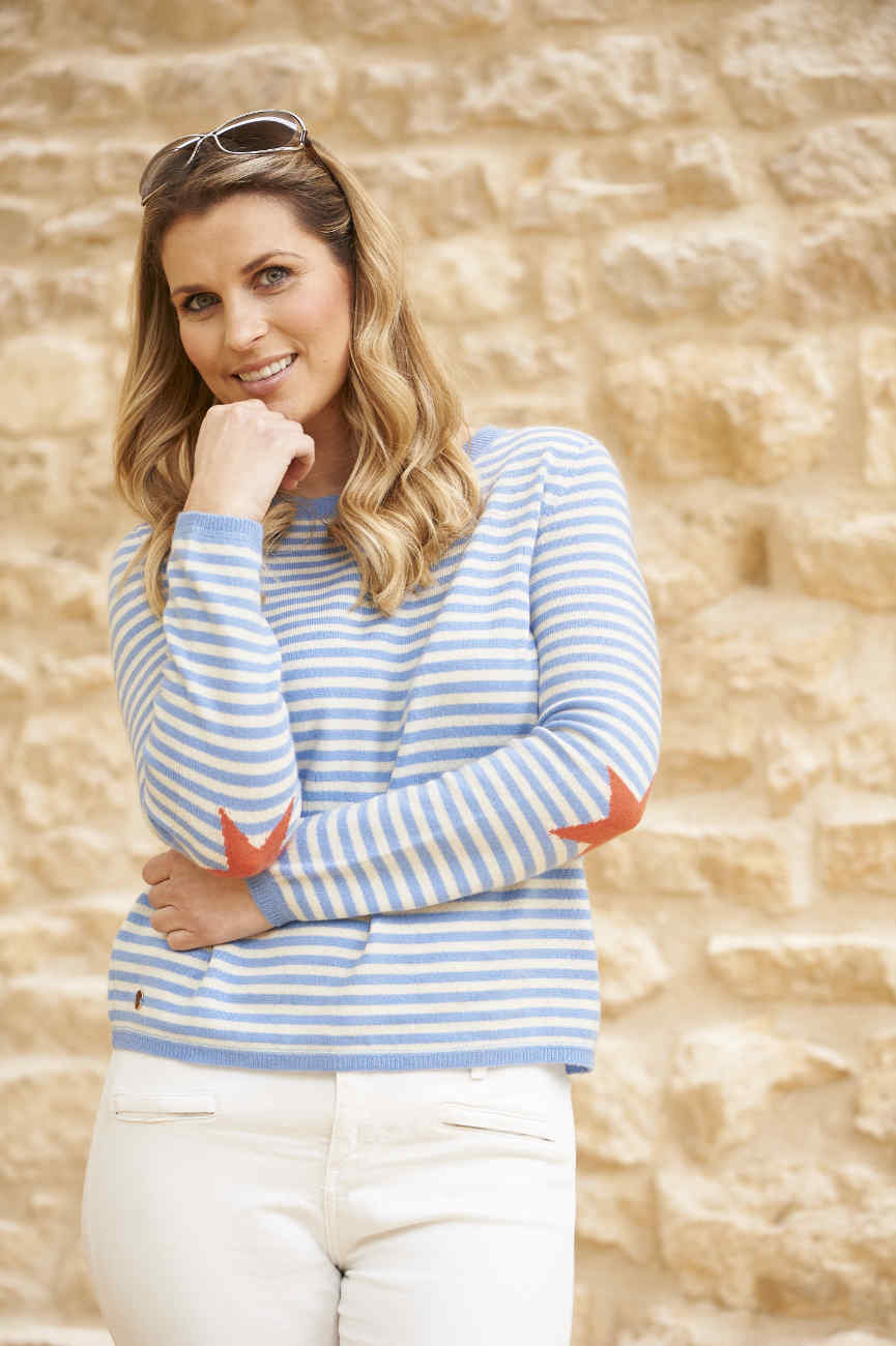 Hyacinth blue and & cream striped boxy crew neck sweater with coral star elbows