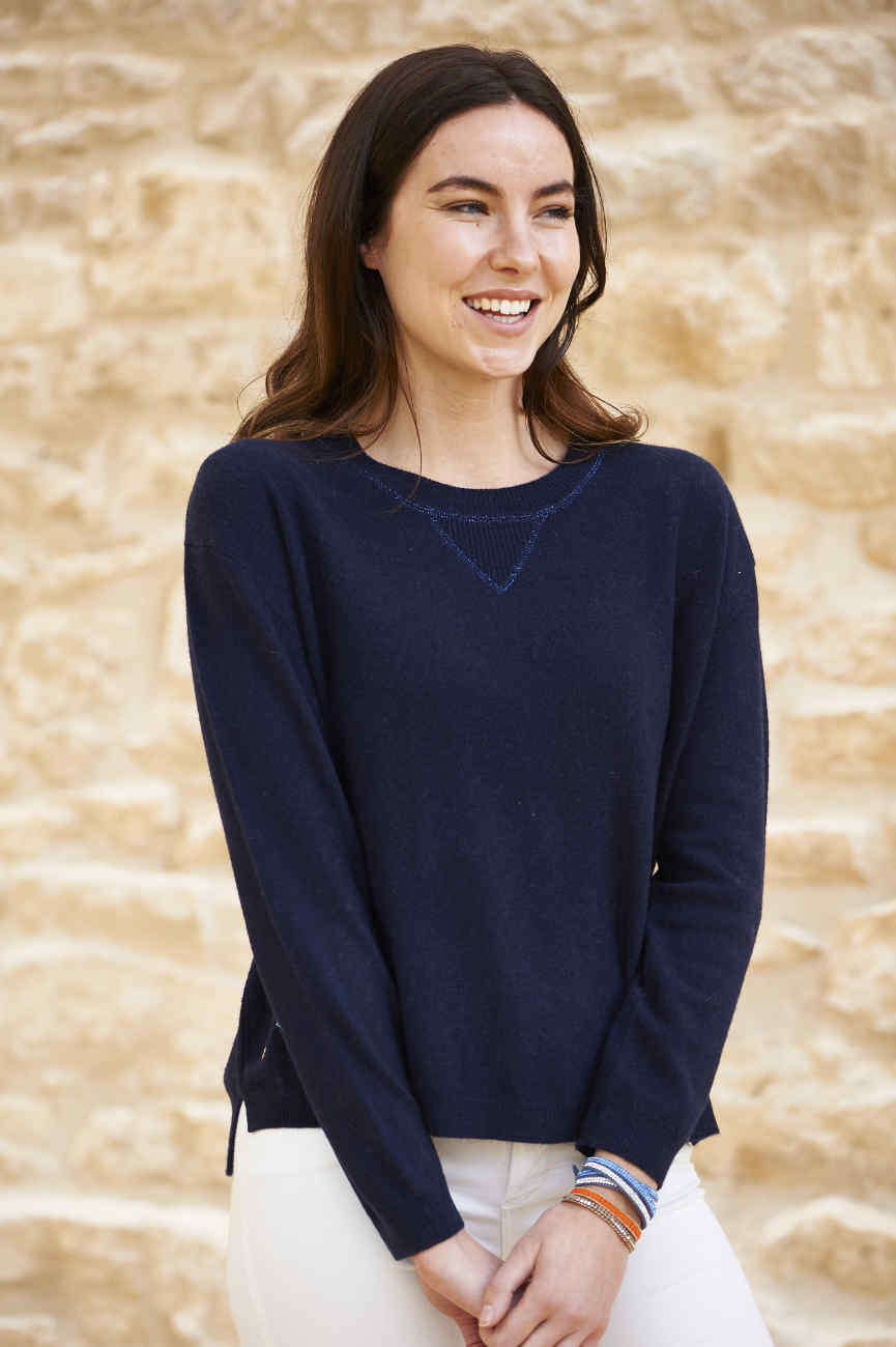 Navy cashmere mix sweatshirt with ligthening bolt elbow patches