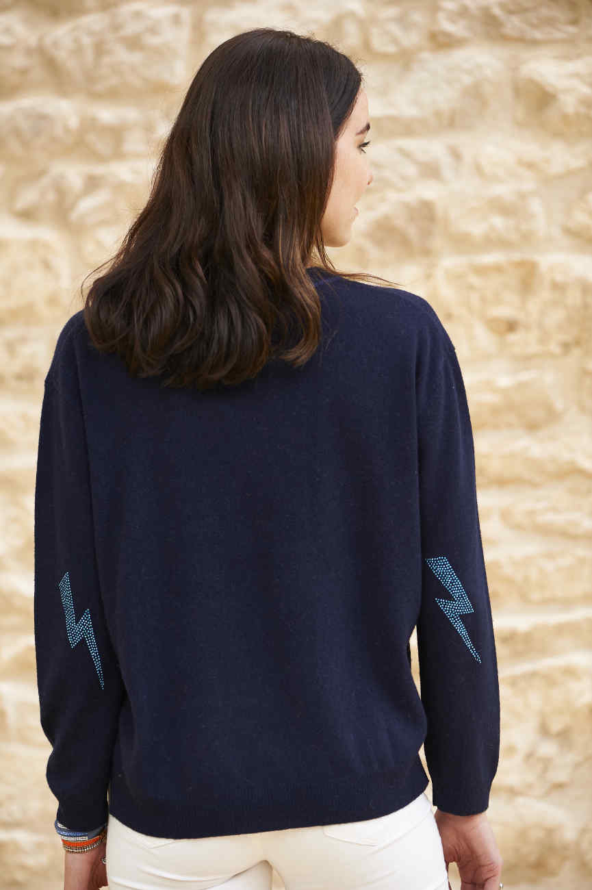 Navy cashmere sweatshirt with ligthening bolt elbow patches