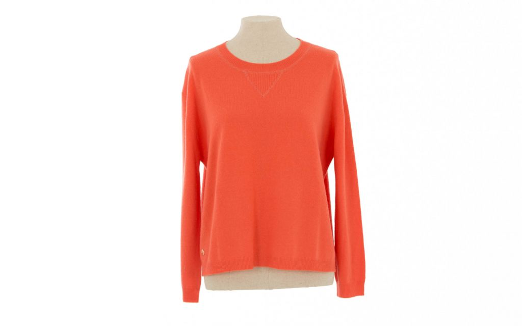 Coral Cashmere Sweatshirt from Arkell & Wills of Cheltenham