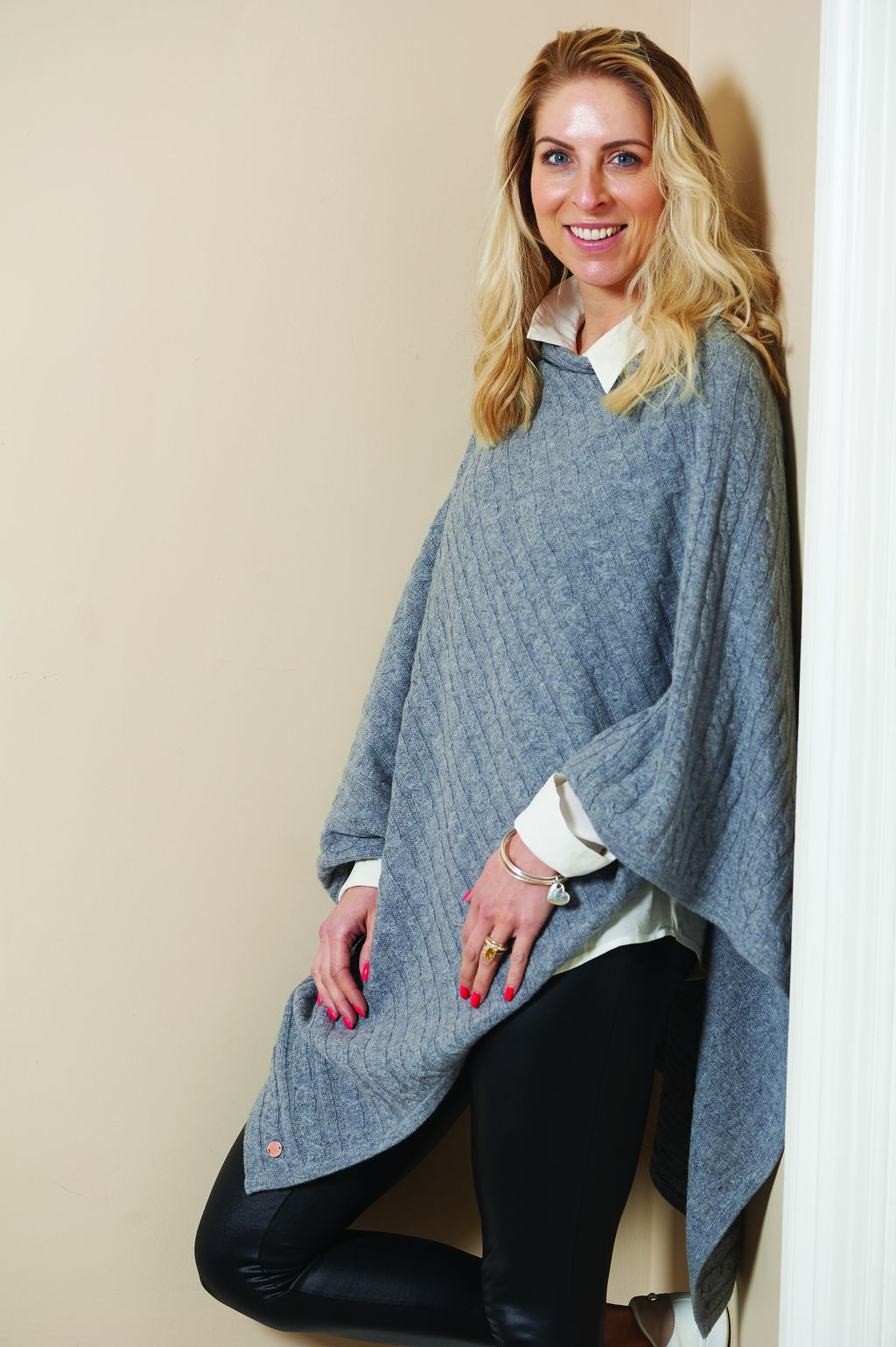Grey cashmere cable knit poncho
